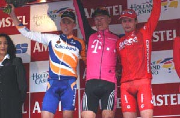 Amstel podium: 1st Vinokourov, 2nd Boogerd, 3rd di Luca. Photo copyright Fotoreporter Sirotti.