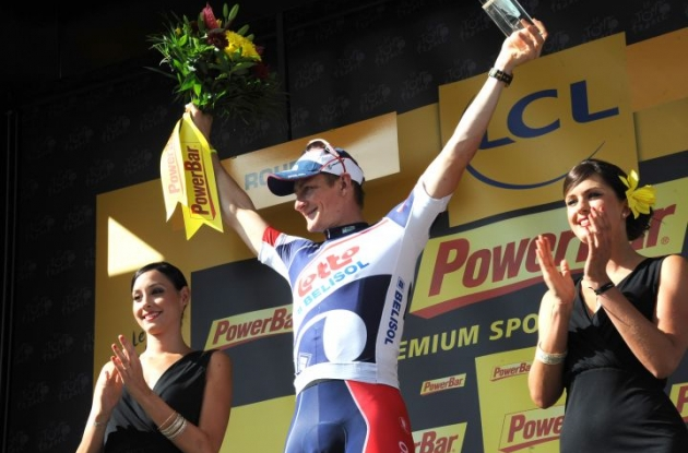 Lotto Belisol's Andre Greipel (Germany) celebrates his stage victory on the podium in Rouen, France. Photo Fotoreporter Sirotti.