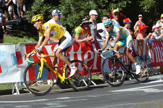 Andy Schleck (Team Saxo Bank) and Alberto Contador (Team Astana) climb. Photo copyright Fotoreporter Sirotti.