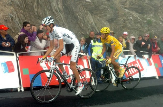Andy Schleck and Alberto Contador climb. Photo copyright Fotoreporter Sirotti.