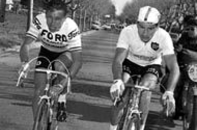 Jacques Anquetil (left) and Raymond Poulidor (right).