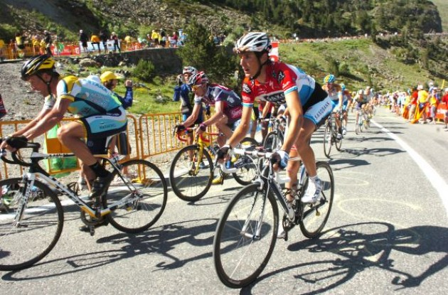 Lance Armstrong, Andy Schleck, Cadel Evans climb. Photo copyright Fotoreporter Sirotti.
