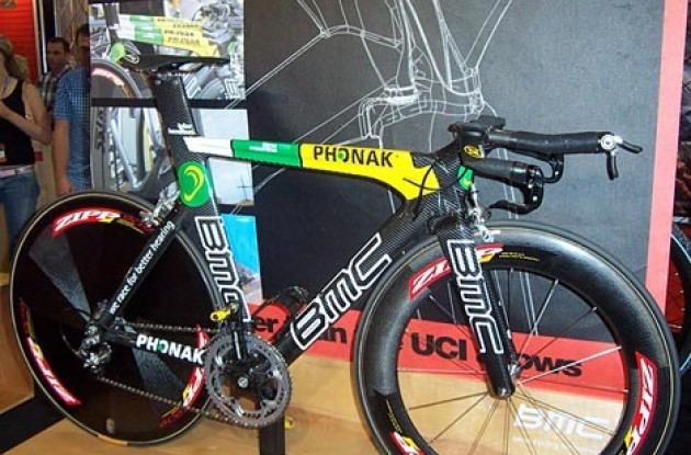 Tyler Hamilton's TT bike. Photo copyright Roadcycling.com.