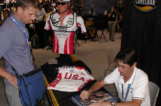 Julich working in the CamelBak booth at InterBike 2004.