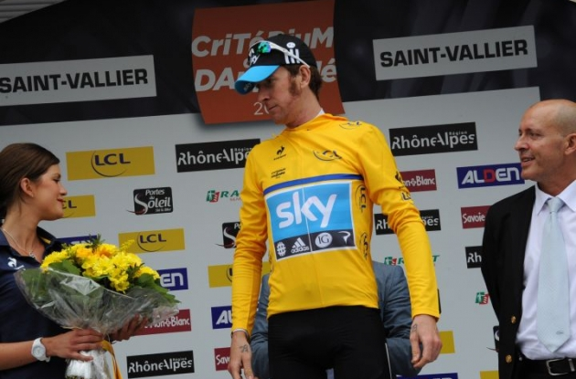 Team Sky Procycling's Bradley Wiggins takes overall Criterium du Dauphine Libere lead. Photo Fotoreporter Sirotti.