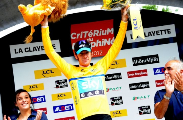 Team Sky Procycling's Bradley Wiggins (Great Britain) leads the Dauphine Libere before tomorrow's individual time trial. Photo Fotoreporter Sirotti.