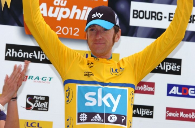 Team Sky's Bradley Wiggins powers to victory in 2012 Criterium du Dauphine Libere's stage 4 individual time trial and increases his overall Dauphine Libere lead before the important mountain stages. Photo Fotoreporter Sirotti.