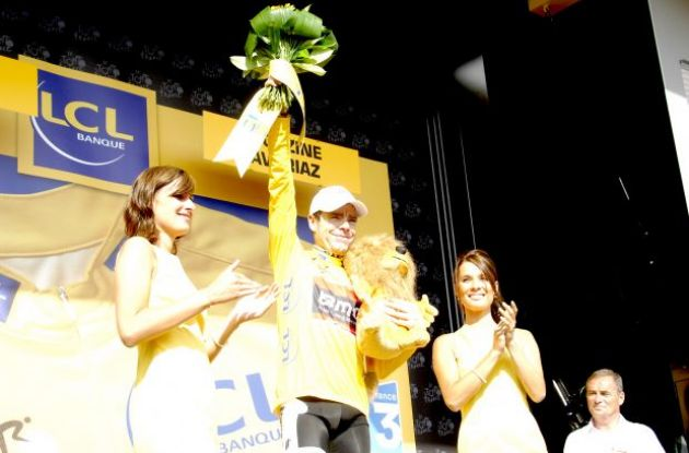 Cadel Evans (Team BMC Racing) now leads the 2010 Tour de France. Photo copyright Fotoreporter Sirotti.