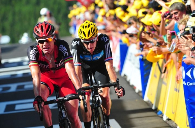 Tour de France G.C. favorites Cadel Evans and Bradley Wiggins cross the finish line. Photo Fotoreporter Sirotti.