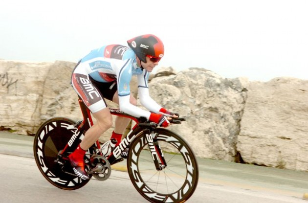 Team BMC Racing's Cadel Evans on his way to defending his lead in the 2011 Tirreno-Adriatico. Photo Fotoreporter Sirotti.