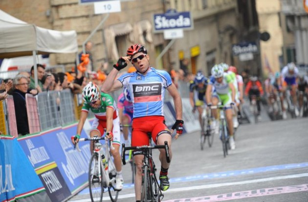 Former World Champion Cadel Evans (Team BMC Racing) powers to win in stage 6 of 2011 Tirreno-Adriatico. Photo Fotoreporter Sirotti.