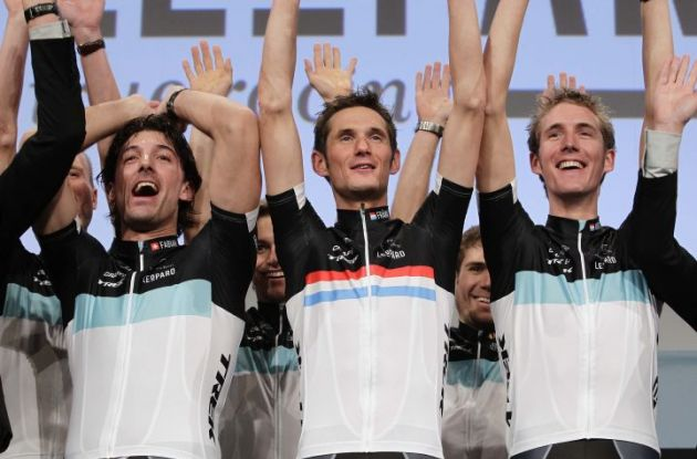 Team Leopard-Trek's Fabian Cancellara, Frank Schleck and Andy Schleck. Photo Fotoreporter Sirotti.