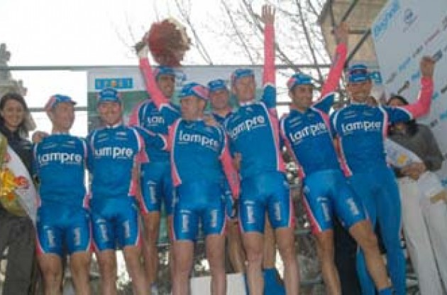 Team Lampre riders celebrate on the podium. Copyright Fotoreporter Sirotti.