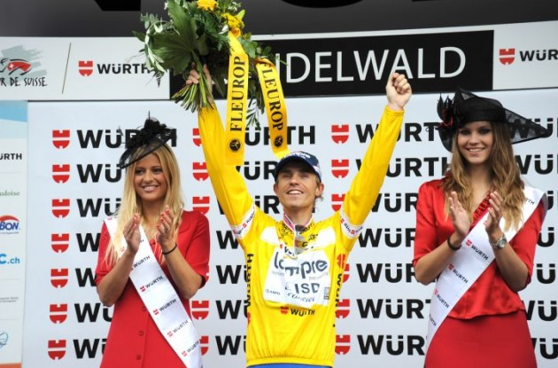 Damiano Cunego leads the 2011 Tour of Switzerland overall. Photo copyright Fotoreporter Sirotti.
