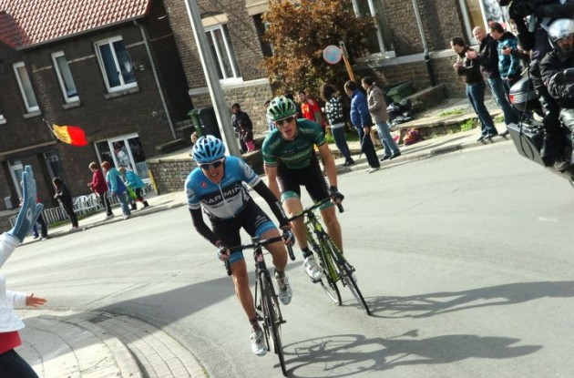 Daniel Martin of Team Garmin-Barracuda and Pierre Rolland of Team Europcar attack. Photo Fotoreporter Sirotti.