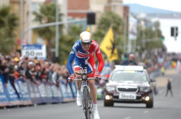 David Millar (Great Britain) on his way to finishing an impressive 2nd and winning silver. Photo Fotoreporter Sirotti.
