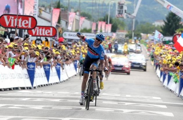 David Millar of Team Garmin-Sharp sprints to victory in stage 12 of the 2012 Tour de France. Photo Fotoreporter Sirotti.