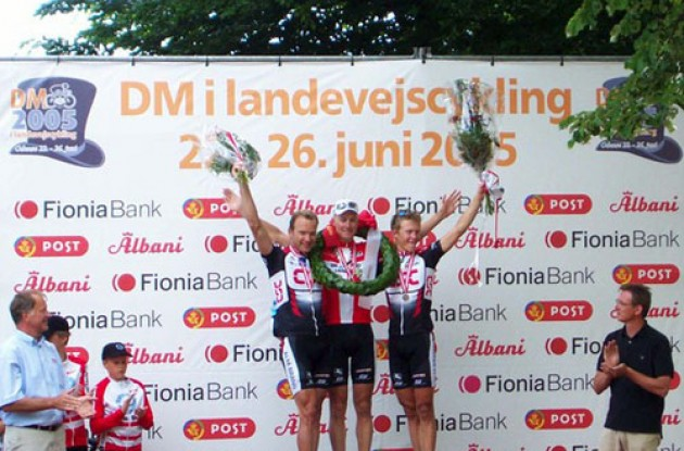 Denmark - Top 3 on the podium in Odense. Photo copyright Roadcycling.com.