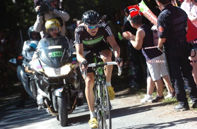 Edvald Boasson Hagen shows impressive climbing skills on his way to victory. Photo Fotoreporter Sirotti.