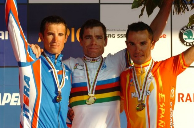 Cadel Evans, Kolobnev and Joaquin Rodriguez on the podium. Photo copyright Fotoreporter Sirotti.
