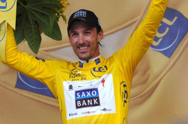 "A proud Fabian ""Spartacus"" Cancellara on the podium in Rotterdam. Photo copyright Fotoreporter Sirotti."