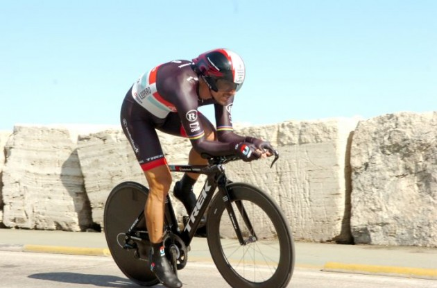 Fabian Cancellara powers to victory in Tirreno-Adriatico individual time trial. Photo Fotoreporter Sirotti.