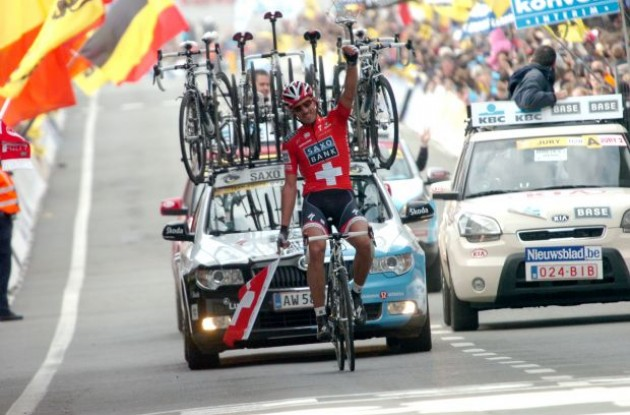 Fabian Cancellara. Ready to win the 2010 Tour de France prologue? Stay tuned to Roadcycling.com to find out! Sign up for our RSS news feed now. Photo copyright Fotoreporter Sirotti.