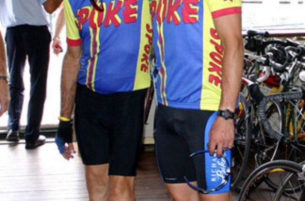 Tony and Channing in their SPOKE jerseys on the ferry in Switzerland. Photo copyright Roadcycling.com.