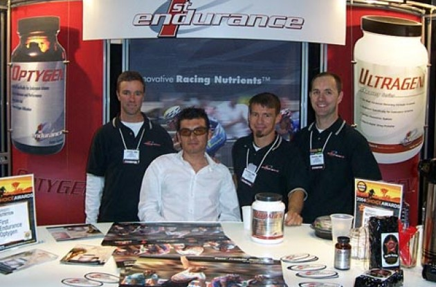 Fred Rodriguez poses with the guys from First Endurance. Photo copyright Roadcycling.com.