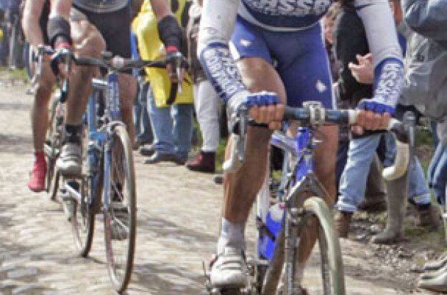 Flecha riding his Pinarello Dogma FP-Cross to a podium finish in Paris-Roubaix. Photo copyright Roadcycling.com.