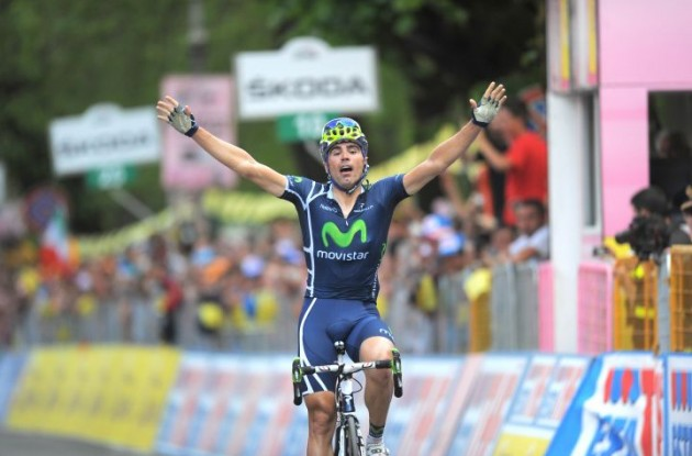 Team Movistar's Francisco Ventoso wins stage 6 of the Giro d'Italia 2011. Photo Fotoreporter Sirotti.