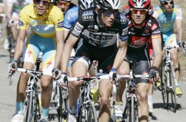Schleck, Contador, Valverde. Photo copyright Fotoreporter Sirotti.