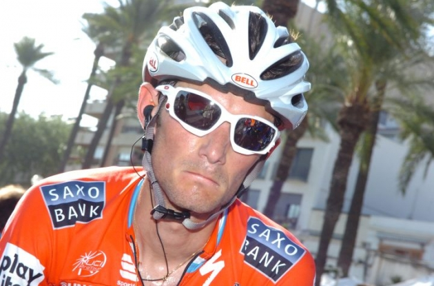 Wuaaa Wuaaa, mamma, mamma! I'm a sad panda! Frank Schleck looking displeased and missing his brother Andy Schleck who got kicked out of the 2010 Vuelta a Espana by Team Boss Bjarne Riis for alcoholic drinking on the rest day. Who said spoiled kids? Photo copyright Fotoreporter Sirotti.