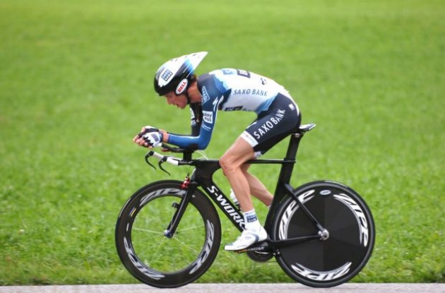 Frank Schleck on his way to the overall vicotry in the 2010 Tour of Switzerland. Photo copyright Fotoreporter Sirotti.