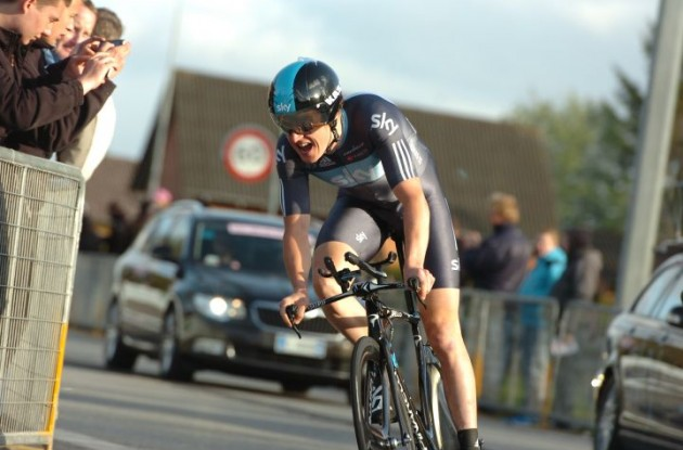 Geraint Thomas (Team Sky / Great Britain) finished 9 seconds behind stage winner Phinney in today's Giro time trial. Photo Fotoreporter Sirotti.
