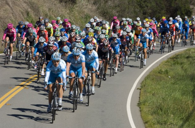 Team Gerolsteiner leads the pack. Photo copyright Roadcycling.com.