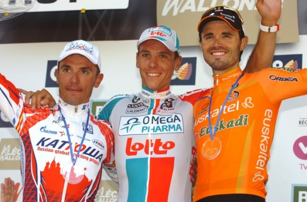 Gilbert, Rodriguez and Sanchez on the podium. Photo Fotoreporter Sirotti.