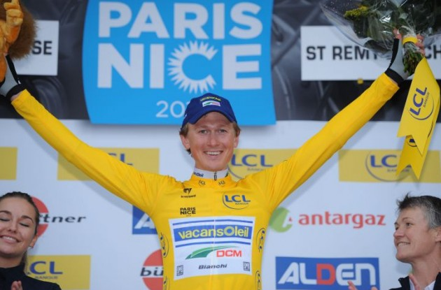 Gustav Larsson is celebrated on the podium in France. Photo Fotoreporter Sirotti.