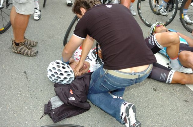 Heinrich Haussler on the tarmac after the crash in the final meters of stage 4 of the 2010 Tour de Suisse. Photo copyright Fotoreporter Sirotti.