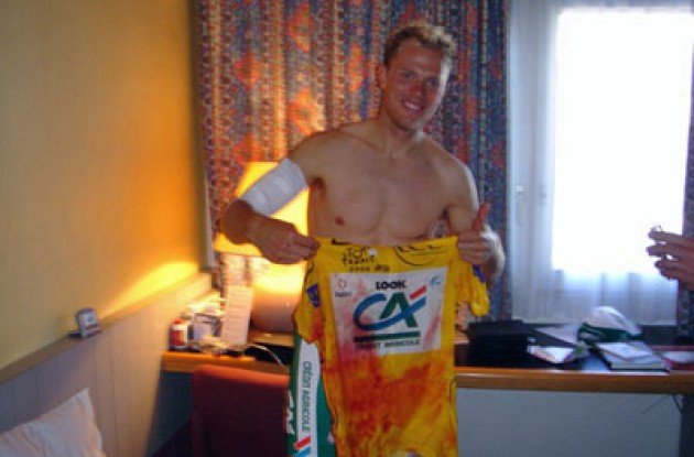 Thor Hushovd's bloody yellow jersey. Photo copyright Julian Dean/Roadcycling.com.