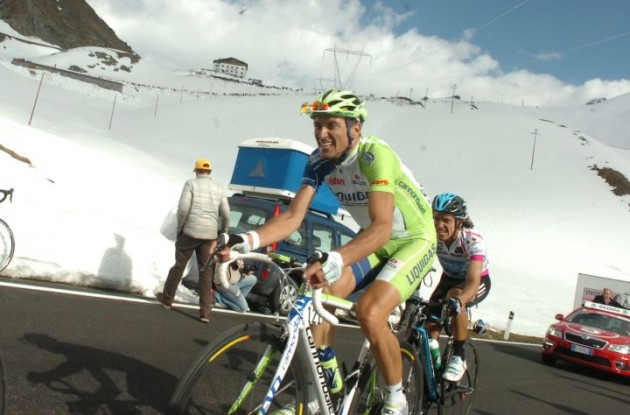 Ivan Basso struggles for Team Liquigas-Cannondale. Photo Fotoreporter Sirotti.