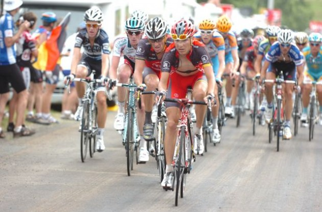 Janez Brajkovic and Lance Armstrong (Team Radioshack) lead the peloton. Photo copyright Fotoreporter Sirotti.