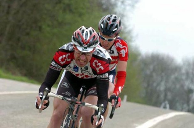 Jens Voigt working hard - as usual - in a breakaway. Photo copyright Fotoreporter Sirotti.