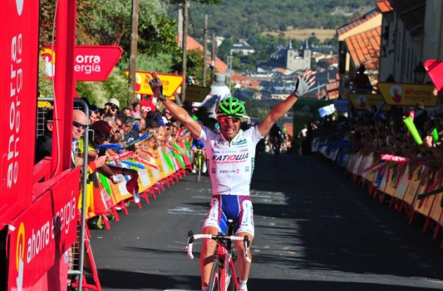 Joaquim Rodriguez wins stage 8 of the 2011 Vuelta a Espana for Team Katusha. Photo Fotoreporter Sirotti.