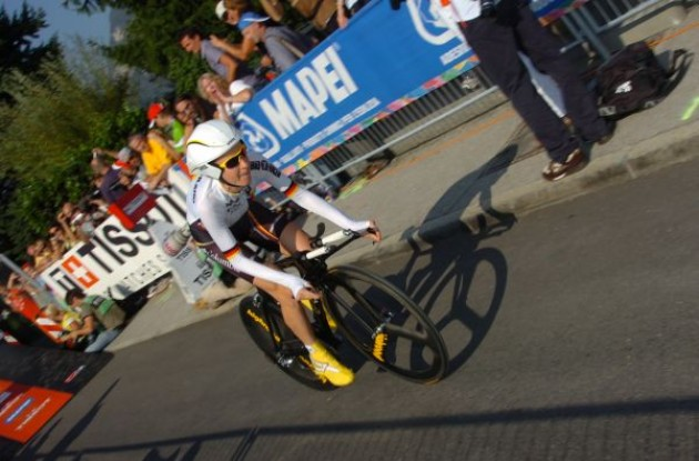 Germany's Judith Arndt starts her time trial. Photo copyright Fotoreporter Sirotti.