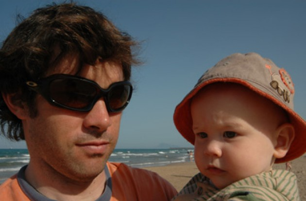 Julian Dean (Team Credit Agricole sprinter) with his son Tanner. Photo copyright Julian Dean. Thanks for sharing.