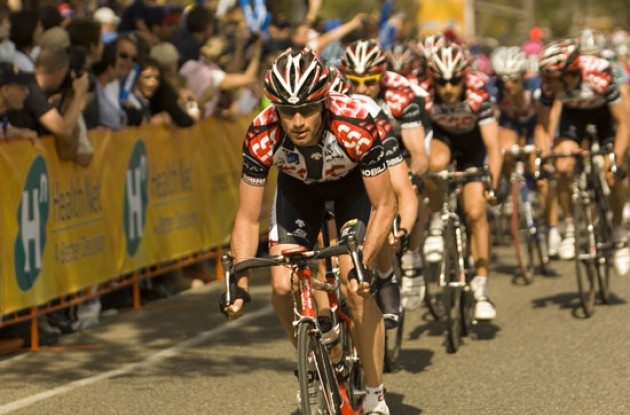 Julich pulls hard for Team CSC followed by Jens Voigt. Photo copyright Roadcycling.com.
