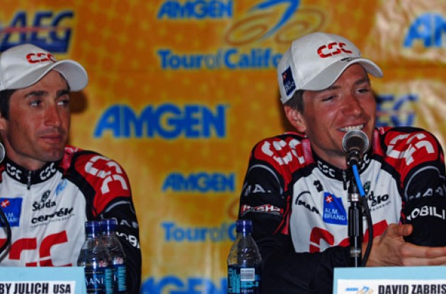 Bobby Julich and David Zabriskie at the post-race press conference. Photo copyright Roadcycling.com.