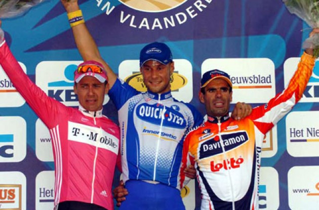 Boonen, Klier, and Van Petegem on the podium. Photo copyright Fotoreporter Sirotti.