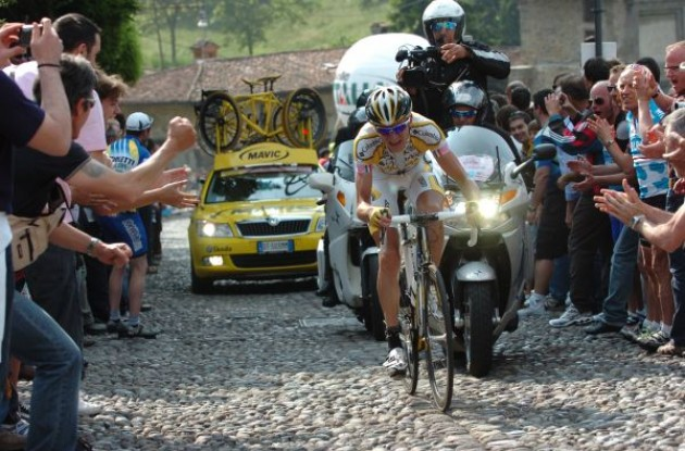 Kanstantsin Sivtsov on his way to stage victory in a grand tour. Photo copyright Fotoreporter Sirotti.